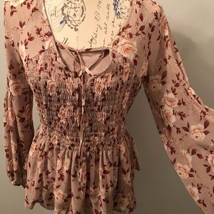 American eagle Lace up front floral shirt.